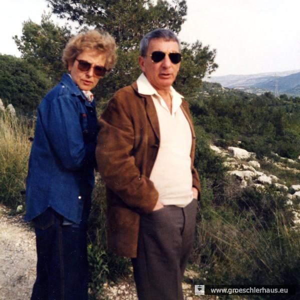 Eva Basnizki geb. Hirche und ihr Ehemann Georges Basnizki im Mai 1986 in Beit Nakofa, Israel (Foto A. Naujoks)