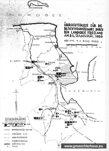 Übersichtsskizze für eine Besichtigungsfahrt des Kreisausschusses des Landkreises Friesland mit Angabe der Wohnungbaukapazitäten  1956. Sammlung H. Zimmermann