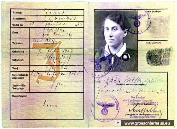 """Die Juden-Kennkarte (""""J"""" für Jude) von Käthe Wodtke geb. Solmitz (1907 – 1945 Schortens) vom 20. Januar 1940. Archiv H. Peters"""