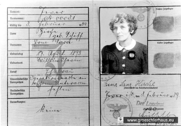 Juden-Kennkarte für Erna Hirche vom 3. Februar 1939 (Archiv H. Peters)