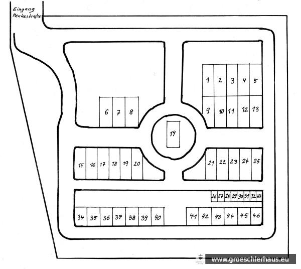 Lageplan des jüdischen Friedhofs Schortens-Heidmühle, erstellt von N. Credé 1988 (Archiv H. Peters)