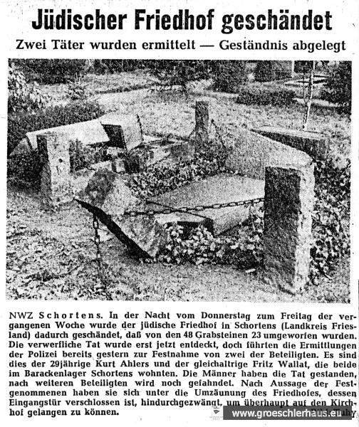 Am 28. Jan. 1960 berichtete die Nordwest-Zeitung über die große Friedhofsschändung durch zwei Einwohner von Schortens