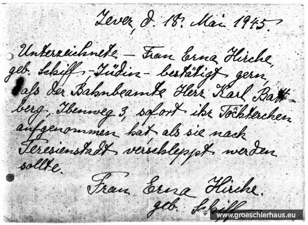 """""""Persilschein"""" für Karl Badberg von Erna Hirche vom 18. Mai 1945 (Archiv H. Peters)"""