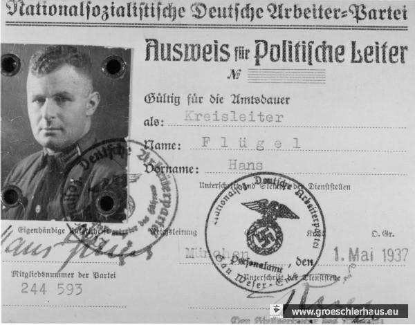 Kreisleiter-Ausweis von Hans Flügel (Archiv H. Peters)