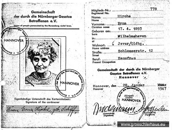 """Ausweis der """"Gemeinschaft der von den Nürnberger Gesetzen Betroffenen"""" für Erna Hirche vom 28. Januar 1947"""