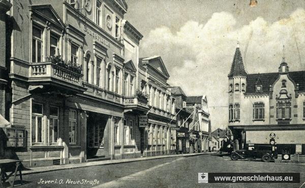 """Das Concerthaus ca. 1940, links unten ist einer der drei jeverschen """"Stürmer-Kästen"""" zu erkennen (Archiv H. Peters)"""