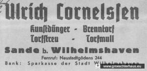 Abb. 1: Briefkopf der Firma Cornelssen vom Dezember 1938 (NLA Oldenburg, Best. 136, Nr. 18392)