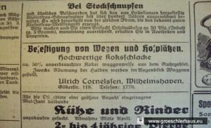 """Abb. 5: Anzeige Cornelssen im """"Jeverschen Wochenblatt"""", 28. März 1942"""