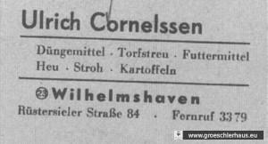 Abb. 6: Briefkopf Cornelssen von 1954 (NLA Oldenburg)
