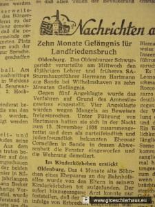 "Abb. 8: Pressenotiz ""Jeversches Wochenblatt"" vom 17. Februar 1950"