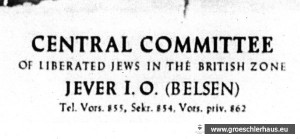 """Briefkopf """"Zentralkomitee der befreiten Juden in der britisch besetzten Zone in Jever"""" von 1950 (Gedenkstätte Bergen-Belsen)"""