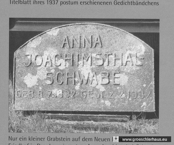 Grabstein von Anna Joachimsthal-Schwabe auf dem Neuen Israelitischen Friedhof Dresden (NTR 07/01.2). Sammlung Holger Frerichs.