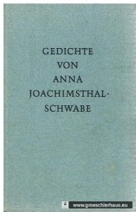 Titeleinband der 2. Auflage des Gedichtbandes von Anna Joachimsthal-Schwabe. Repro Holger Frerichs.