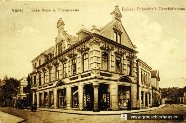Elternhaus von Anna Joachimsthal-Schwabe in Varel, Neue Straße 1. Sie lebte dort bis zu ihrer Heirat 1913. Postkarte um 1900. Heimatverein Varel.