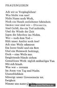 """In ihrem Gedicht """"Frauenleben"""" schien sie prophetisch ihre eigene Geschichte des """"Vergessenwerdens"""" voraus zu ahnen. Repro: Holger Frerichs."""