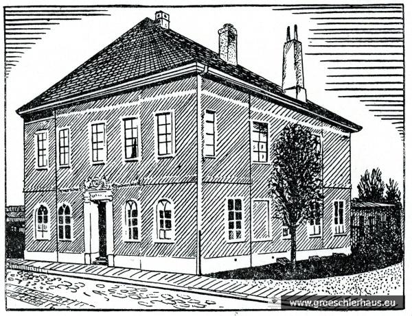 """Das Verlagsgebäude des """"Jeverschen Wochenblatts"""" (Zeichnung D. Lange, JW 21.6.1941)"""