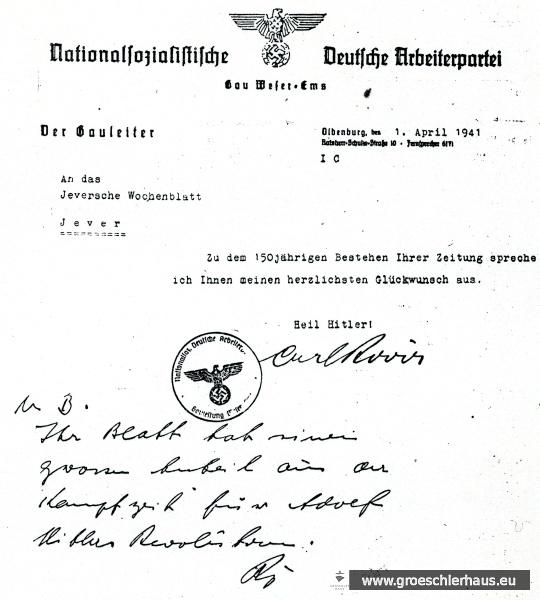 """Gratulationsbrief zum 150jährigen Bestehen des """"Jeverschen Wochenblatts"""" vom Gauleiter Weser-Ems Carl Röver (JW 5.5.1941)"""