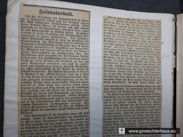 """Der Grundsatzartikel """"Heimatarbeit"""" von Friedrich Lange eröffnet das Protokollbuch des """"Heimatvereins"""" von 1920 (JW Sept. 1920; Schlossarchiv Jever)"""