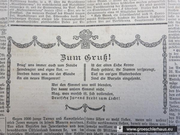 """Ein anlässlich eines regionalen """"Turnfestes"""" veröffentlichtes revanchistisches Gedicht: """"Mag, was morsch ist, sich vollenden, Deutsche Jugend strebt zum Licht!"""" (JW 18.9.1920)"""