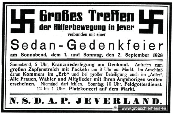 """Anzeige zum """"Sedanstreffen"""" der NSDAP des Oldenburger Landes im September 1928, das den Beginn der Kampagnen im Jeverland markiert (JW 28.9.1928)"""