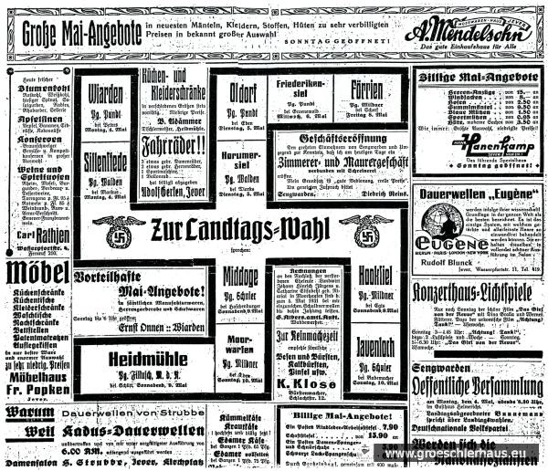"""Intensiv zogen die Nationalsozialisten propagandistisch zu Felde, sie konnten mit der Hilfe des """"Jeverschen Wochenblatts"""" rechnen (JW 2.5.1931)"""