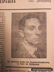 """Als kurzfristig für den 28. Mai 1932 im jeverschen """"Schützenhof"""" eine Rede von Joseph Goebbels angesetzt wurde, wies das """"Jeversche Wochenblatt"""" ausgiebig auf die Veranstaltung hin. (JW 26.5.1932)"""
