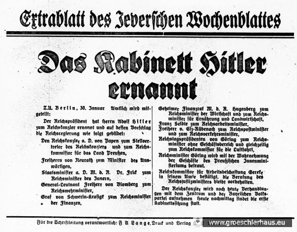 Extrablatt vom 30. Januar 1933