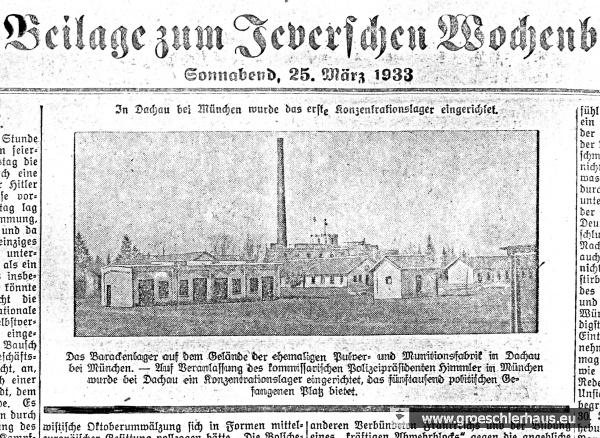 Über die Existenz der Konzentrationslager wurde offen berichtet (JW 25.3.1933)