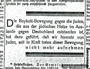 """Ablehnung der Anzeigen jüdischer Geschäftleute. Das Insert erschien auch im """"Anzeiger für Harlingerland"""" (JW 3.4.1933)"""
