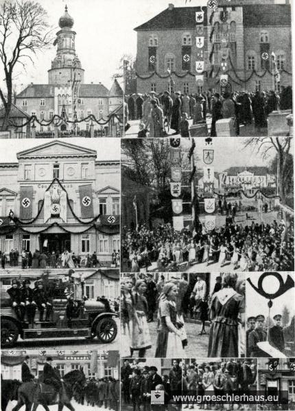 """Collage vom """"Tag der Nationalen Arbeit"""" 1937 aus dem im Verlag Mettcker erschienenen """"Historien-Kalender 1938"""". Vergleichbare Fotos brachte das """"Jeversche Wochenblatt"""" recht häufig."""