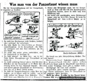 """Schönfärbende Anleitung zum Gebrauch der Panzerfaust durch den """"Volkssturm"""" (JW 24.2.1945)"""