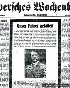 """Eine der letzten Ausgaben des """"Jeverschen Wochenblatts"""" vor ihrem Verbot durch die Alliierten (JW 2.5.1945)"""