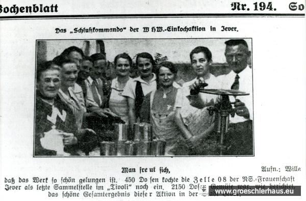 """Das """"Jeversche Wochenblatt"""" baute die NS-Volksgemeinschaft aktiv mit auf (JW 21.8.1937)"""