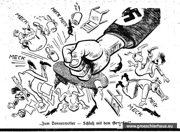 """Das """"Jeversche Wochenblatt"""" stellte sich mit eigenen Artikeln und dieser übernommenen Karikatur in den Dienst der Kampagne gegen die """"Meckerer"""" (JW 26.5.1934)"""