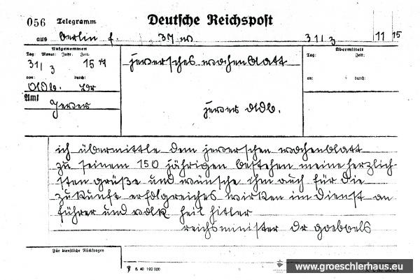 """Glückwunschtelegramm von Goebbels zum 150jährigen Bestehen des """"Jeverschen Wochenblatts"""" (JW 5.5.1941)"""