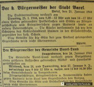 """Abb.: Ankündigung von drei Verkaufsveranstaltungen in der Stadt Varel und der Gemeinde Varel-Land zwischen dem 25. und 27. Januar 1944, Anzeige in """"Der Gemeinnützige"""", 24. Januar 1944. Repro: Holger Frerichs."""