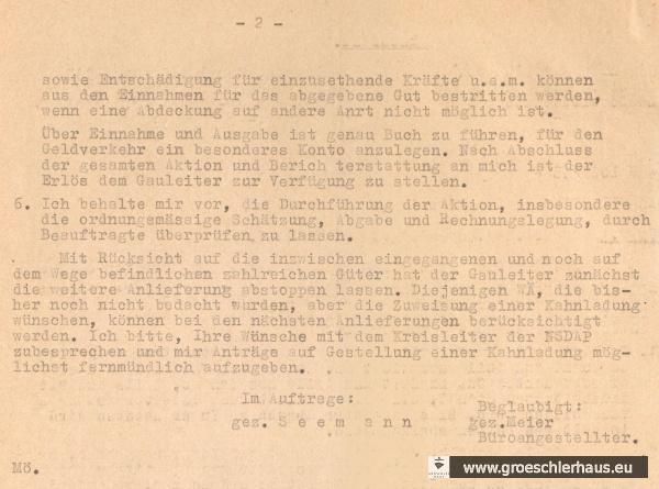Abb.: Schreiben Reichsstatthalter für Oldenburg und Bremen – Landeswirtschaftsamt Weser-Ems - an alle Wirtschaftsämter, 18. Januar 1943. Quelle: Staatsarchiv Bremen, Best. 4,13/1-M.2.f.4.Nr.70.