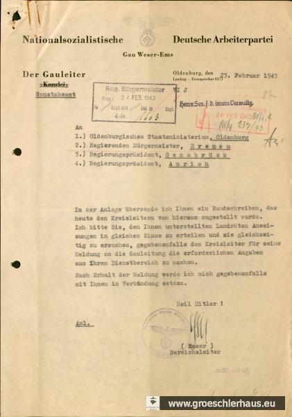 Abb.: Schreiben NSDAP-Gaustabsamt an Oldenburgisches Staatsministerium u.a., 23. Februar 1943. Quelle: Staatsarchiv Bremen, Best. 4,13/1-M.2.f.4.Nr.70.