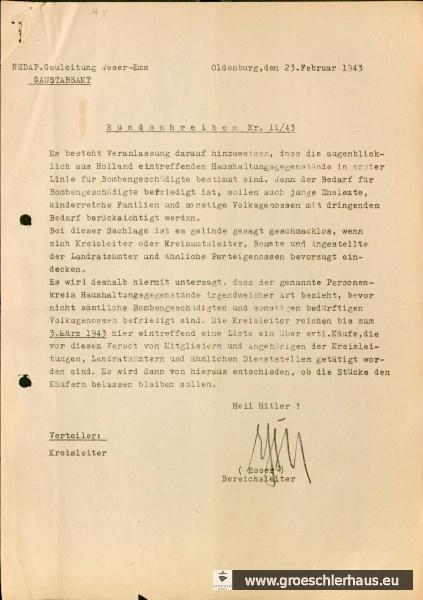 Abb.: Rundschreiben 11/43 NSDAP-Gauleitung Weser-Ems – Gaustabsamt – an Kreisleiter, 23. Februar 1943. Quelle: Staatsarchiv Bremen, Best. 4,13/1-M.2.f.4.Nr.70.
