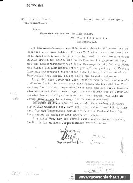 Abb.: Schreiben Landrat Kreis Friesland an Dr. Walter Müller-Wulckow, 24. März 1943. Quelle: Landesmuseum Oldenburg, Bestand LMO-A-780.