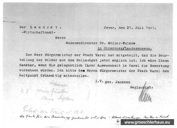 Abb.: Wirtschaftsamt Friesland an Müller-Wulkow, 27. Juli 1943 (mit handschriftlichen Notizen, vermutlich vom August 1943). Quelle: Landesmuseum Oldenburg, Bestand LMO-A-780.