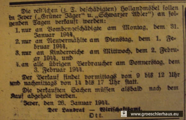 """Abb.: Eine kurze Notiz und eine Anzeige im """"Jeverschen Wochenblatt"""" vom 27. Januar 1943 markierten das Ende der """"Aktion M"""" in der Kreisstadt Jever. Repro: Holger Frerichs. Schlossmuseum Jever."""