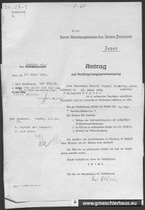 Antrag auf Genehmigung der Auktion beim Landratsamt, 18. März 1940. NLA OL, Bestand 231-3, Nr. 588.