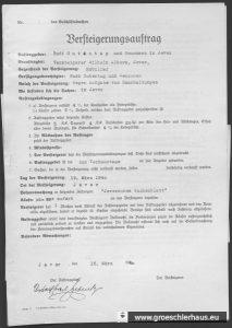 Auktionsauftrag durch Rudolf Gutentag, 15. März 1940. NLA OL, Bestand 231-3, Nr. 588.