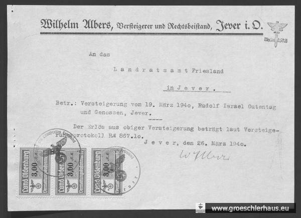 Mitteilung von Auktionator Wilhelm Albers an den Landrat Friesland, 26. März 1940. NLA OL, Bestand 231-3, Nr. 588.